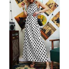 PolkaDot Sleeveless A-line Skater Casual Maxi Dresses