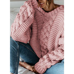 Solid Cable-knit V-Neck Casual Sweaters
