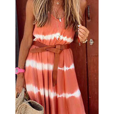 Tie Dye Sleeveless A-line Slip/Skater Casual/Vacation Maxi Dresses