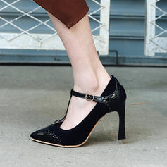 Women's Suede Patent Leather Stiletto Heel Pumps Closed Toe With Buckle shoes
