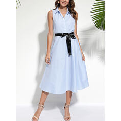 Striped Sleeveless A-line Shirt Casual/Elegant Midi Dresses