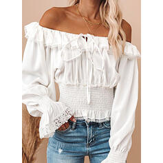 Solid Lace Off the Shoulder Long Sleeves Flare Sleeve Casual Blouses