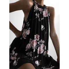Print/Floral Sleeveless Shift Knee Length Casual Dresses