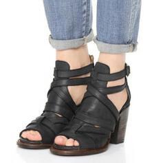 Mulheres PU Salto robusto com Fivela sapatos