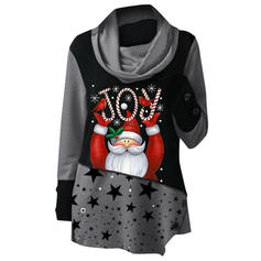 Print High Neck Long Sleeves Casual Christmas Knit Blouses