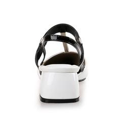 Women's Patent Leather Chunky Heel Pumps Closed Toe Slingbacks shoes