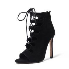 Femmes Suède Talon stiletto Escarpins Bottes À bout ouvert Bottines avec Zip Dentelle chaussures