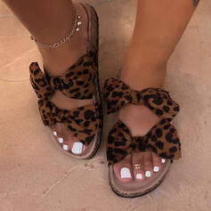 Women's Fabric Flat Heel Sandals Peep Toe Slippers With Bowknot Animal Print shoes
