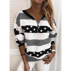 Print Color Block V-hals Lange ærmer Sweatshirts
