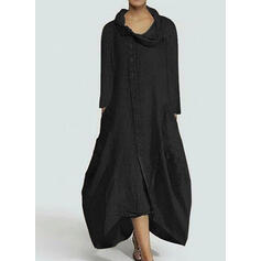 Solid 3/4 Sleeves Shift Little Black/Casual Midi Dresses