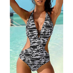 Stripe Monokini Halter V-Neck Sexy Beautiful One-piece Swimsuits