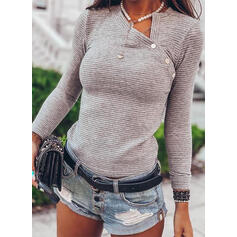 Striped V-Neck Long Sleeves Button Up Casual Knit Blouses