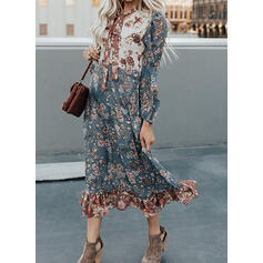 Print/Floral Long Sleeves Shift Tunic Casual/Vacation Midi Dresses