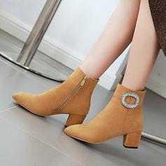 Vrouwen Suede Chunky Heel Enkel Laarzen met Kristal Rits schoenen