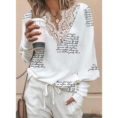 Print Lace Figure V-Neck Batwing Sleeve Long Sleeves Casual Knit Blouses