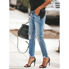 Shirred Plus Size Ripped Elegant Plain Denim & Jeans