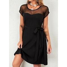 Solid Mâneci Scurte Bir Çizgi Deasupra Genunchiului Negre/Zarif Patenci Elbiseler