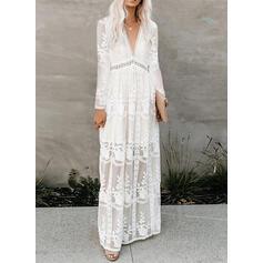 Koronka/Jednolita Długie rękawy W kształcie litery A Łyżwiaż Elegancki Maxi Sukienki