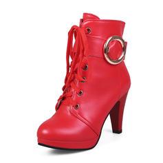 Dla kobiet Skóra ekologiczna Obcas Stiletto Platforma Kozaki Kozaki do polowy lydki Z Klamra obuwie