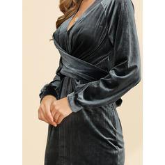 Jednolita Długie rękawy Pokrowiec Midi Przyjęcie/Elegancki Sukienki
