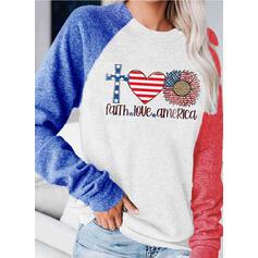 Sunflower Print Round Neck Long Sleeves Sweatshirt