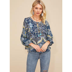 Print V-Neck Puff Sleeves Long Sleeves Casual Blouses