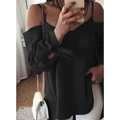 Solid Spaghetti Strap Long Sleeves Casual T-shirt