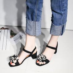 Dla kobiet Skóra ekologiczna Obcas Slupek Sandały Bez Pięty Z Kwiaty Elastic Band obuwie