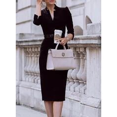 Solid Măneci Trei Sferturi/Mâneci Bufante Manşon Negre/Elegant Midi Elbiseler