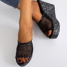Dla kobiet Material Tkanina mesh Obcas Koturnowy Sandały Platforma Koturny Otwarty Nosek Buta Kapcie Obcasy Z Koronka obuwie