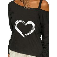 Hjerte Trykk En skuldret Lange ermer T-skjorter