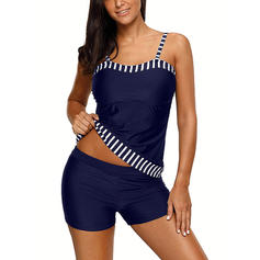 Stripe Strap Elegant Plus Size Tankinis Swimsuits