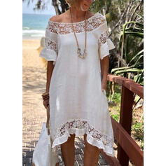 Lace/Solid 1/2 Sleeves/Flare Sleeves Shift Knee Length Casual/Vacation Tunic Dresses
