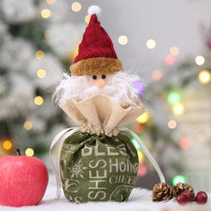 Merry Christmas Snowman Santa Hanging Gift Bag Cloth Apple Bags
