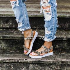 Femmes PU Talon plat Sandales À bout ouvert avec Velcro chaussures