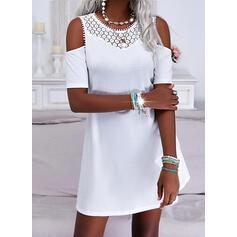 Jednolity Koronka Rękawy 1/2 cold ramion rękaw Suknie shift Długośc do kolan Nieformalny Tunika Sukienki