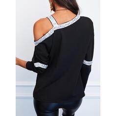 Блестки Одно плечо Длинные рукова Повседневная Блузы