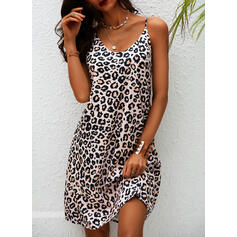 Leopard Sleeveless Shift Knee Length Sexy Slip Dresses