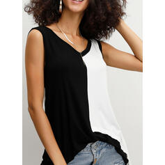 Color Block V-Neck Sleeveless Casual Tank Tops