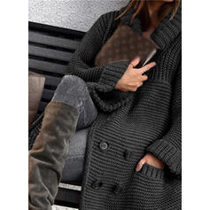 Solid Ribbed Pocket Lapel Casual Cardigan