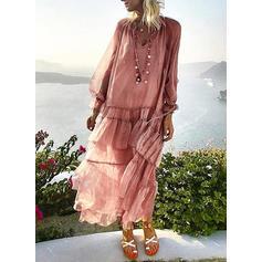 Solid Long Sleeves Shift Maxi Casual/Boho/Vacation Dresses