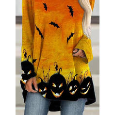 Animal Print V-Neck Long Sleeves Casual Halloween T-shirts