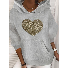 Sequins Heart Pockets Long Sleeves Hoodie