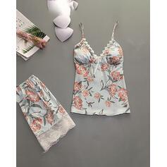 Riem Mouwloos Bloemen In de mode Pyjama Sets Cami en korte sets