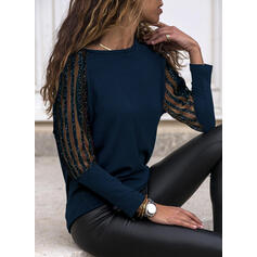Solid Lace Round Neck Long Sleeves Elegant Blouses