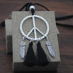 Fashionable Alloy Leather Rope With Tassels Women's Fashion Necklace