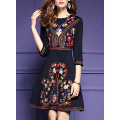 Embroidery 1/2 Sleeves A-line Above Knee Vintage/Casual/Elegant/Boho/Vacation Dresses