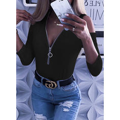 Solid V-neck Long Sleeves Casual Elegant Sexy Blouses