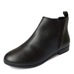 Kvinner PU Lav Hæl Ankelstøvler med Elastisk bånd sko