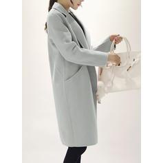 Woolen Cotton Long Sleeves Plain Slim Fit Coats